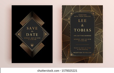 Beautiful set of wedding card templates. Gold collection of geometrical polyhedron, art deco style for wedding invitation, luxury templates, decorative patterns.