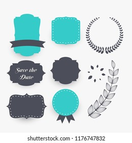 beautiful set of wedding decoration elements