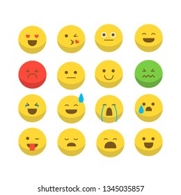 beautiful set of yellow and color emoticons.