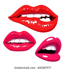 Beautiful sexy female lips. Pink lipstick. Part of a woman's face. Vector illustration on white background. The concept of feminine beauty. Elements for design. Erotic print.