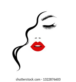 Beautiful sexy woman face, red lips, curly hair style, fashion hairdresser, element design, spa salon. Beauty Logo. Vector illustration. Isolated on white.