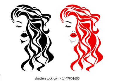 Beautiful sexy woman face, red lips, curly black and red hair style, fashion hairdresser, element design, spa salon. Beauty Logo. Vector illustration. Isolated on white.