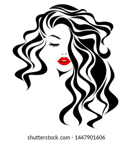 Beautiful sexy woman face, red lips, curly black hair style, fashion hairdresser, element design, spa salon. Beauty Logo. Vector illustration. Isolated on white.