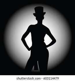Beautiful sexy woman silhouette in style cabaret. Vector illustration