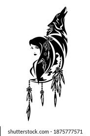 beautiful shaman woman, crescent moon, feathered decor and howling wolf - tribal spirit animal concept black and white vector design