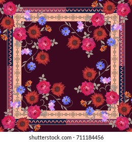 Beautiful shawl with bouquets of flowers and ornamental frame. Vector summer design.
