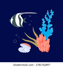 Beautiful shell pearl, coral reef and fish on underwater dark blue marine background. Flat Art Vector Illustration