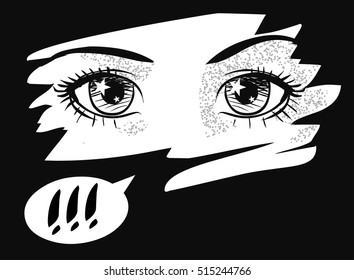 Beautiful shining eyes. Vector hand drawn illustration in anime style