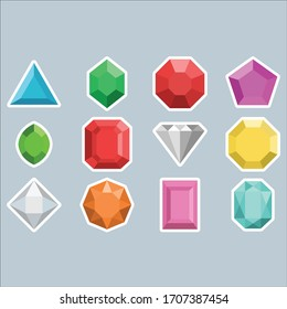 Beautiful Shiny Colorful Gemstones Vector Icons Gems  Diamonds ruby emerald topaz sapphire precious stones Colors red pink blue green orange white turquoise purple