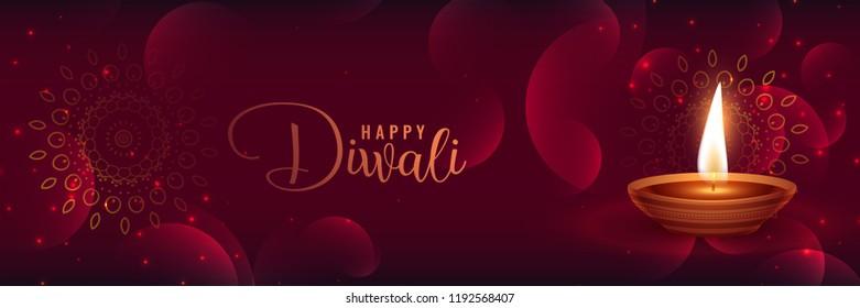 beautiful shiny diwali banner with featival diya