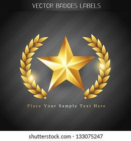 beautiful shiny golden winner label design
