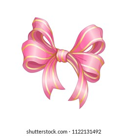 A beautiful shiny silk bow of pink color with gold strips. Vector cartoon decor element for gift or greeting card. On a white background.