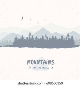Beautiful silhouette of amazing spruce forest and mountains. Stylish vector illustration