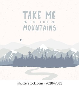 Beautiful silhouette of amazing spruce forest and mountains with text. Stylish vector illustration
