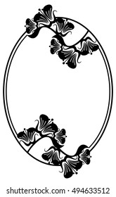 Beautiful silhouette frame. Simple black and white oval frame with abstract flowers.Vector clip art.