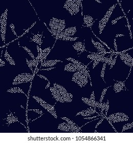 Beautiful silhouette of garden floral botanical fill in with hand drawing polka dots in white modern flowers on  navy blue background.