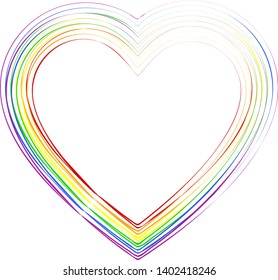 Beautiful silhouette of the heart in colors of the lgbt (rainbow) flag, vector.