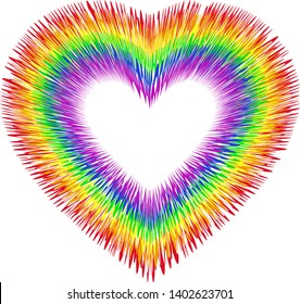 Beautiful silhouette of the heart in colors of lgbt (rainbow) flag with interference effect, vector