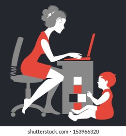 Beautiful silhouette of mother �¢?? freelancer with notebook and baby playing with toys