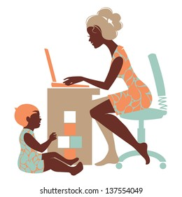 Beautiful silhouette of mother-freelancer with notebook and baby playing with toys