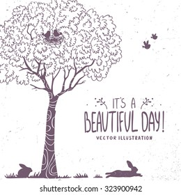 Beautiful silhouette tree, birds and bunny. Vector illustration