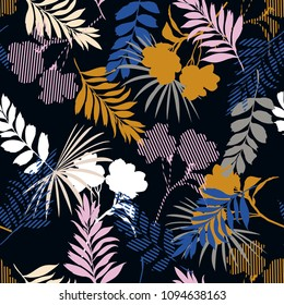 Beautiful of silhouette tropical foliage and fill in stripe leaves in colorful mood  seamless pattern in vector for fashion fabric and all prints on black