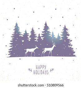 Beautiful silhouette of two stylized deers in the coniferous forest. Stylish vector illustration. Amazing winter holiday card
