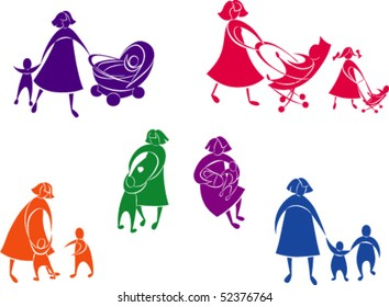 Beautiful silhouettes concepts of mother and children. The color and white part are grouped separately.  The figures for each color are grouped separately. Color is easy to change