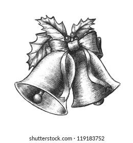 Beautiful silver Christmas bells vector with holly leaves and berries and a cute ribbon in a black and white hand drawn sketch design.