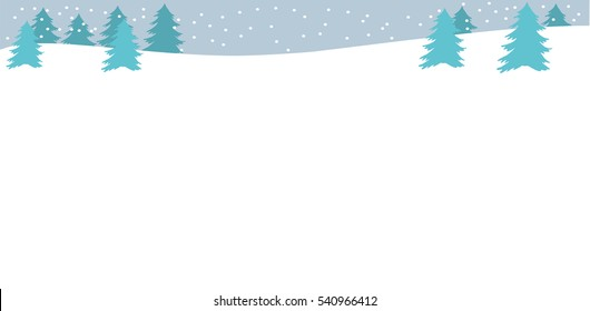 Beautiful simple panorama with blue Christmas trees, snowbank and snow. Winter background with copy space Flat style. Blue color Winter or Christmas web banner Vector illustration Horizontal