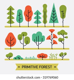Beautiful and simple primitive forms flat vector forest plats, trees, bushes and shrubs | Minimalistic nature design elements set