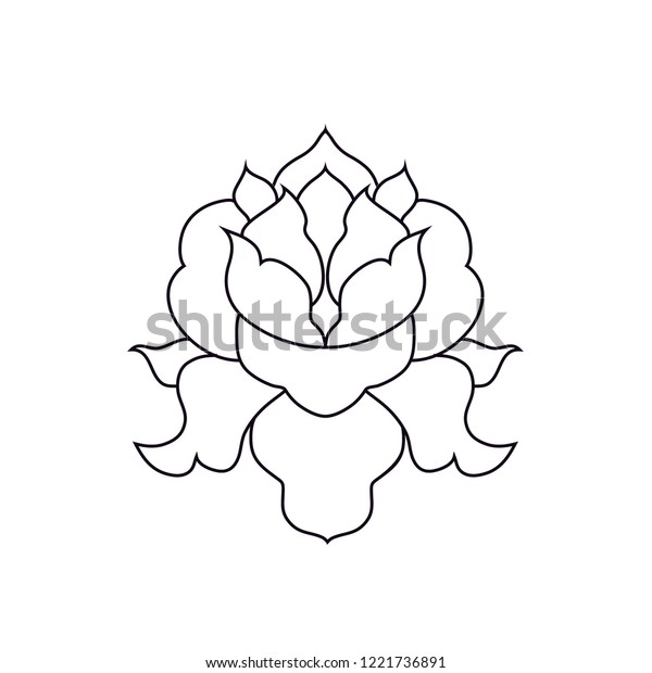 Beautiful simple and symmetrical lotus flower in line art style.