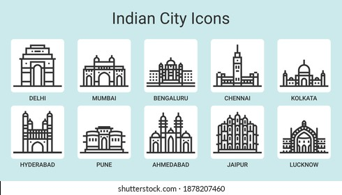 A beautiful, simple and uniform line icon set for the Top 10 Cities of India.