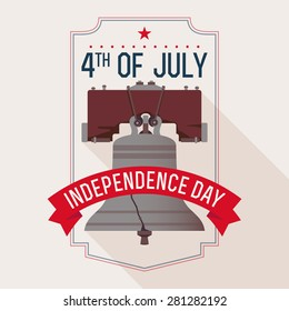 Beautiful simple vector web banner or printable wall art on United States Independence featuring Bell of Independence and title text | Fourth of July greeting with Bell of Freedom