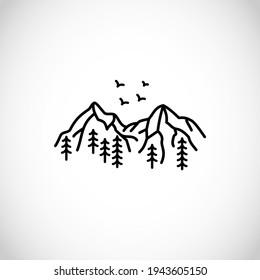 Beautiful simplistic mountain line illustration, vector design