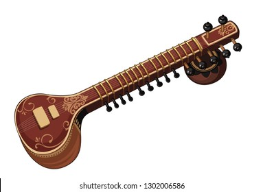 Beautiful Sitar classical music instrument vector