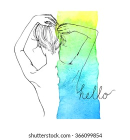 Beautiful sketch girl on watercolour background. Spa. Haircare.