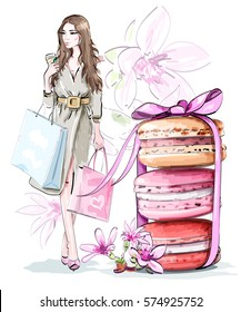 Beautiful sketch set: fashion woman with shopping bags, sweet cute macarons with bow and flowers. Vector illustration.
