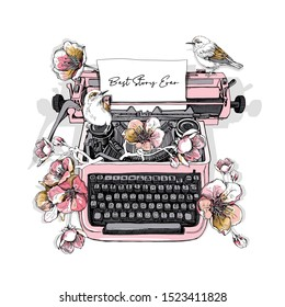 Beautiful Sketch vintage Typewriter machine with birds and flowers of cherry. Best story ever - lettering quote. Romantic humor card, t-shirt composition, hand drawn style print. Vector illustration.