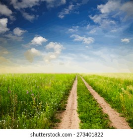 beautiful sky and road in fields, vector