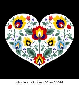 Beautiful Slavic, Polish folk heart vector