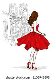 A beautiful slender girl with long legs in fashionable clothes. A model in a skirt, top and high-heeled shoes. Vector illustration. Clothing, accessories, fashion and style.