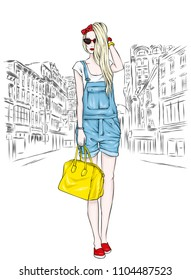 Beautiful slender girl in overalls shorts, glasses and with a bag. Vector illustration. Long hair. Fashion and style, stylish look.