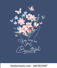 beautiful slogan with colorful bouquet of flower illustration