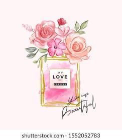 beautiful slogan with flowers in perfume bottle illustration