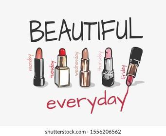 beautiful slogan with lipsticks illustration
