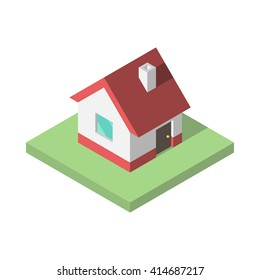 Beautiful small isometric house on green ground isolated on white. Property, real estate, construction and rent concept. EPS 8 vector illustration, no transparency