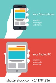 Beautiful Smartphone and Tablet flat icon design