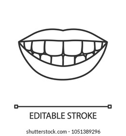 Beautiful smile with healthy teeth linear icon. Thin line illustration. Contour symbol. Vector isolated outline drawing. Editable stroke