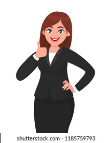 Beautiful smiling business woman showing thumbs up sign / gesture. Like, agree, approve, positive concept illustration in vector cartoon style.
